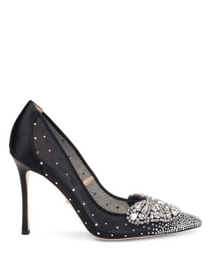 Quintana Embellished Satin Stiletto Pumps by Badgley Mischka
