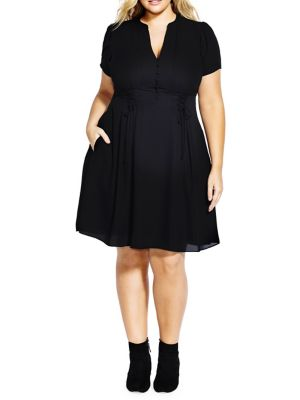 Plus Laced Waist Dress by City Chic