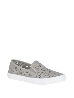 Seaside Perforated Embossed Leather Sneakers by Sperry