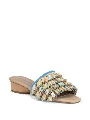 Reise Multi Color Fringe Heeled Sandals by Donald J Pliner