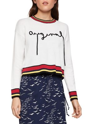 Embroidered Intarsia Script Sweater by Bcbgeneration