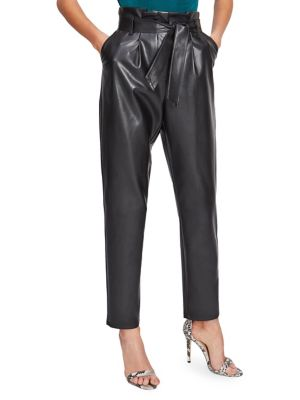 Faux Leather Paperbag Trousers by Miss Selfridge