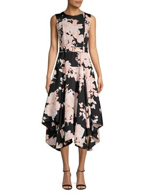 Floral Fit & Flare Midi Dress by Calvin Klein