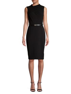 Asymmetric V Neck Belted Sheath Dress by Calvin Klein