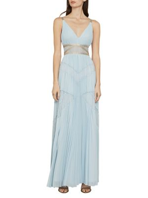Sleeveless Lace Inset Pleated Gown by Bcbgmaxazria
