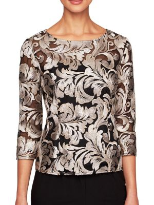 Embroidered Boatneck Blouse by Alex Evenings