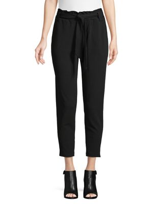Textured Paperbag Cropped Pants by Pink Dot