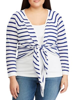 Plus Striped Linen Blend Sweater by Lauren Ralph Lauren