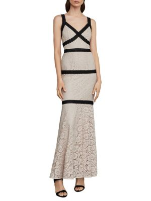 Sleeveless Banded Lace Gown by Bcbgmaxazria