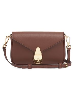 Leather Lock Crossbody Bag by Calvin Klein