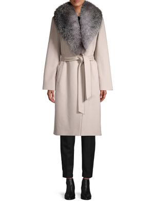 natural-fox-fur-collar-wool-&-cashmere-belted-coat by sofia-cashmere