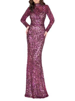 Long Sleeve Sequin Evening Gown by Mac Duggal