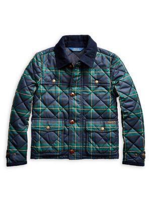 Girl's Tartan Plaid Quilted Barn Jacket by Ralph Lauren Childrenswear