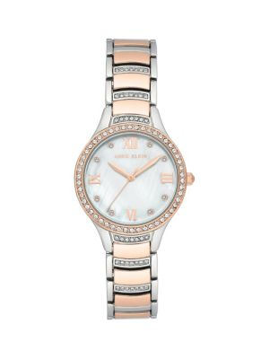 Two Tone Stainless Steel, Mother Of Pearl & Swarovski Crystal Bracelet Analog Watch by Anne Klein