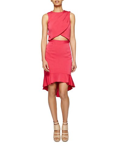 Nicole Miller Wrap-Front Cutout Dress