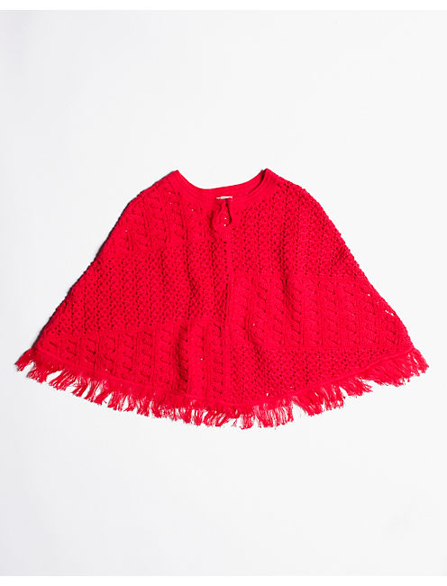 PONCHO PATCHWORK SWEATER, PASSION PINK #6652