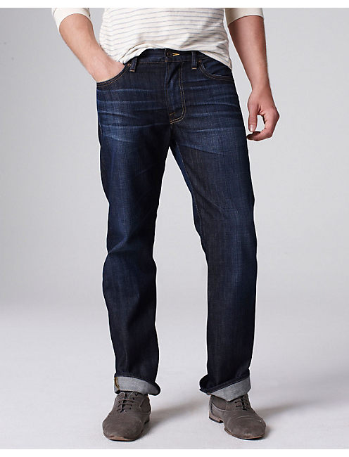 Straight cut gives you a comfortable fit For an easy pair of jeans that will go with everything, add these Straight Fit Jeans with Flex from Wrangler® to your wardrobe. These cotton blend stretch jeans are exquisitely designed with wearability in mind, so they move with you instead of against you.