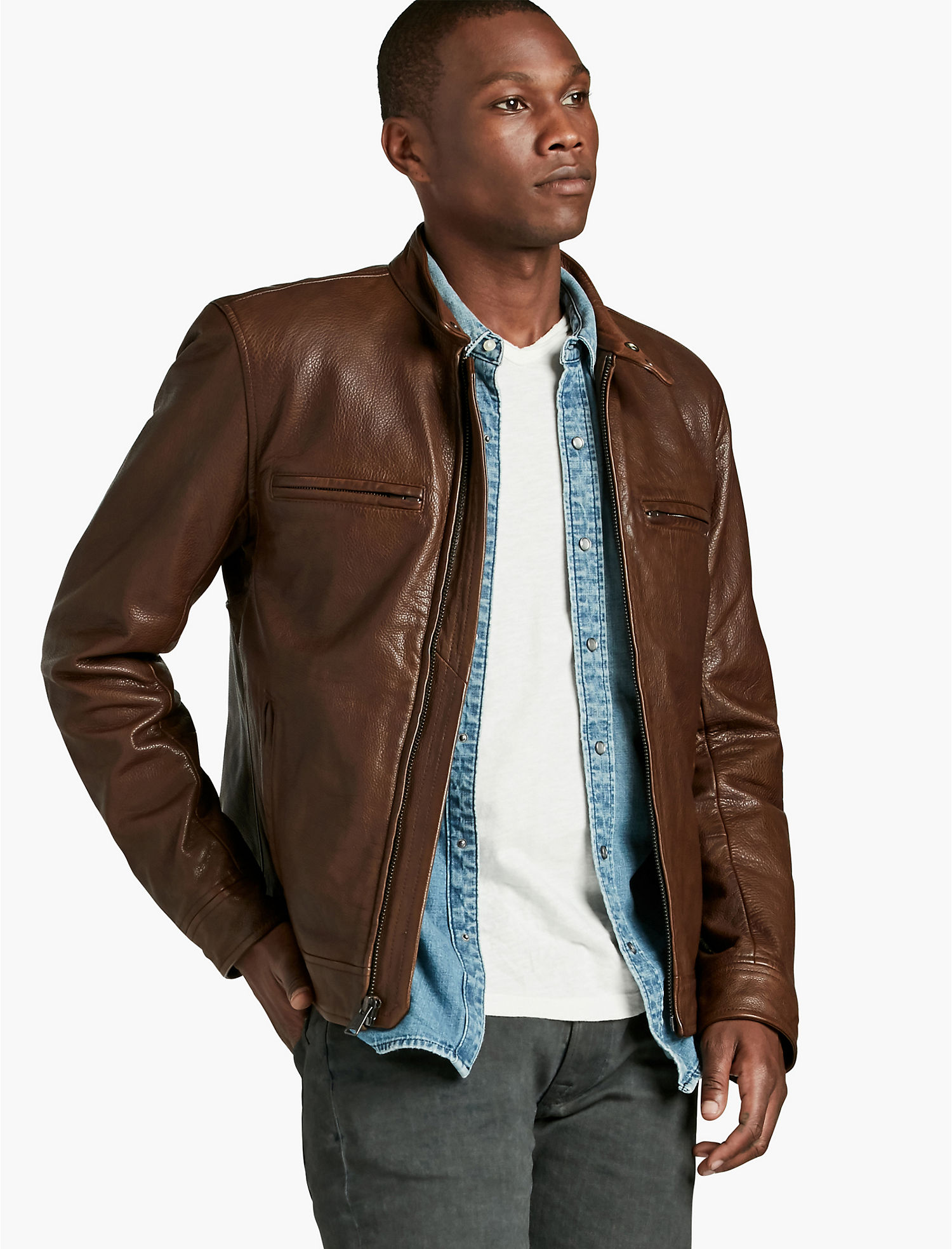 leather lamb jacket clothing rug wilsons in men rugged gallery lyst brown distressed for