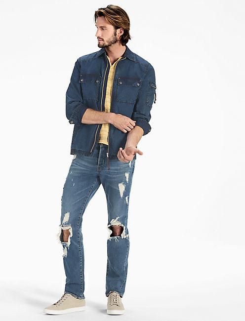 Washed Indigo Shirt Jacket, DARK INDIGO