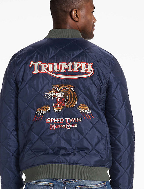 TRIUMPH QUILTED BOMBER JACKET, NAVY