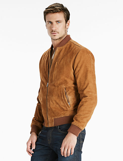 Suede Bomber Jacket, BROWN
