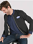 TRIUMPH BOMBER JACKET WITH PATCHES, JET BLACK