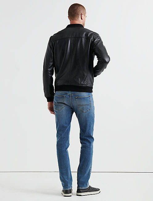 CLEAN LEATHER BOMBER,
