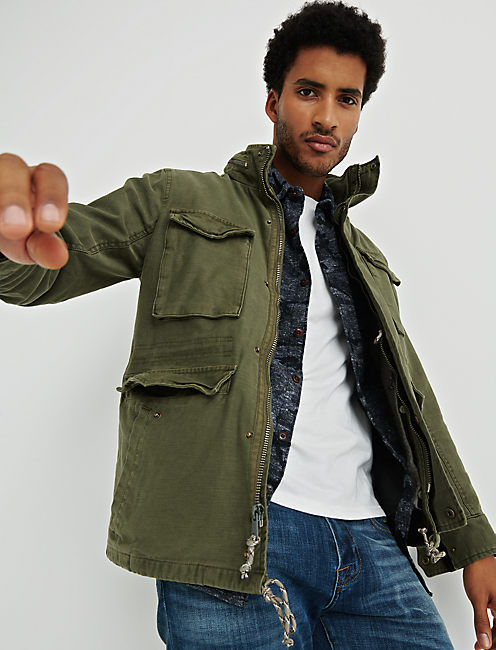REMOVEABLE SHERPA JACKET, BURNT OLIVE