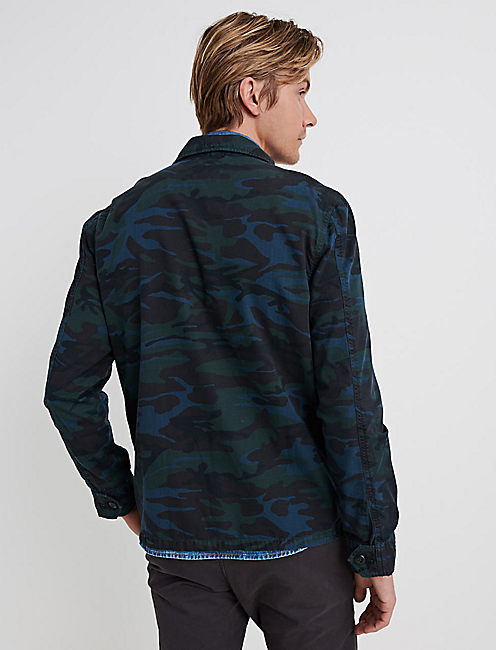 CAMO RIBSTOP MILITARY JACKET, BLUE CAMOUFLAGE