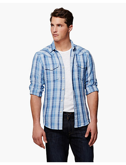 SHOREBIRD PLAID WESTERN, BLUE PLAID