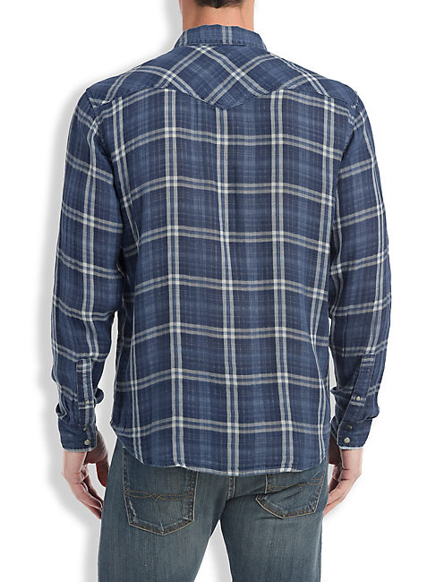 SEA INDIGO WESTERN SHIRT, INDIGO MULTI