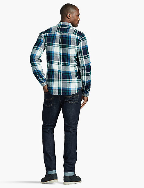 CLEAN TWO POCKET, GREEN/BLUE PLAID