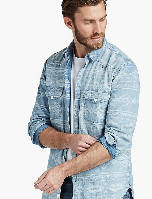 Jacquard Indigo Western Shirt,
