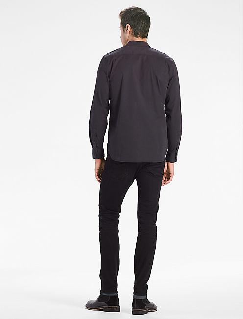 Saturday Stretch Military Oxford Shirt, JET BLACK