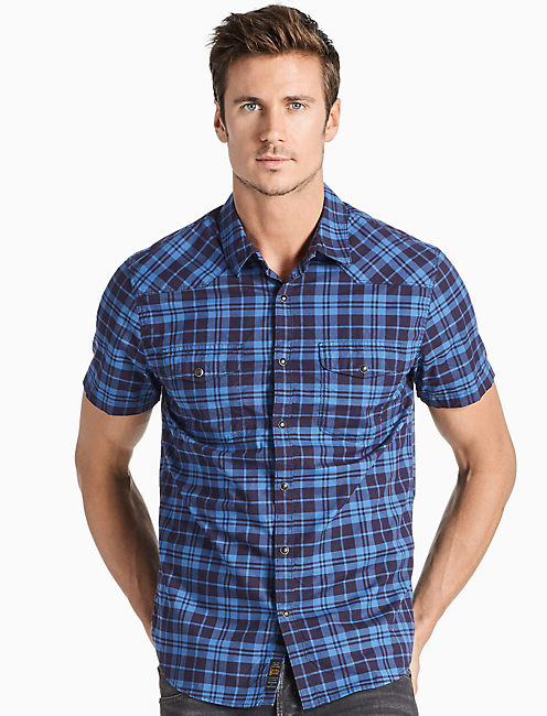 Saturday Stretch Poplin Western Shirt, BLUE MULTI