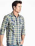 Saturday Stretch Western Shirt, GREEN/BLUE PLAID