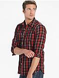 Saturday Stretch Poplin One Pocket Shirt, RED/BLACK