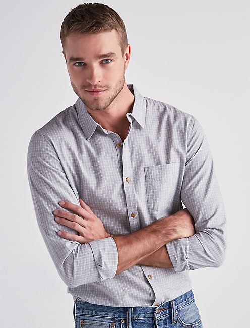 HERITAGE PLAID ONE POCKET SHIRT, HEATHER GREY COMBO