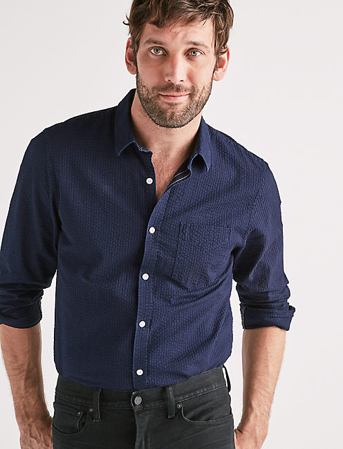 Indigo Seersucker One Pocket Shirt,