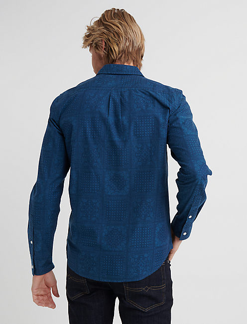 SLIM FIT INDIGO PATTERN ONE POCKET SHIRT, AVY