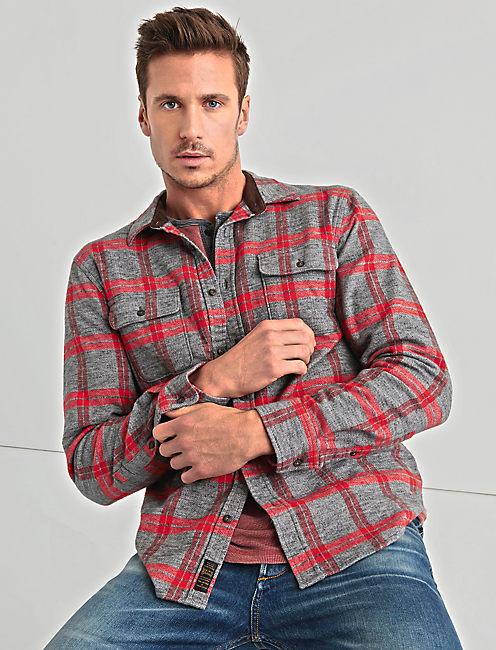 Two Pocket Workwear Shirt, GREY/RED