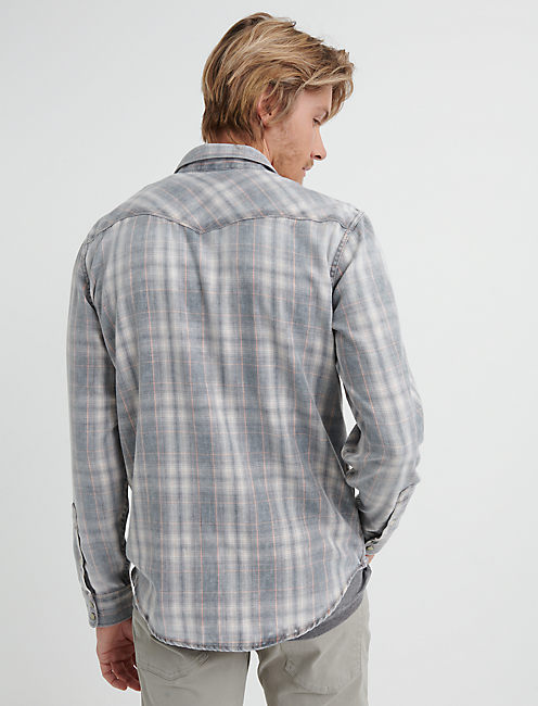 LIGHTWEIGHT FLANNEL WESTERN SHIRT, WASHED BLACK