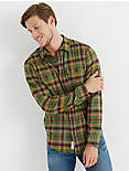 STRETCH WORKWEAR SHIRT, GREEN PLAID