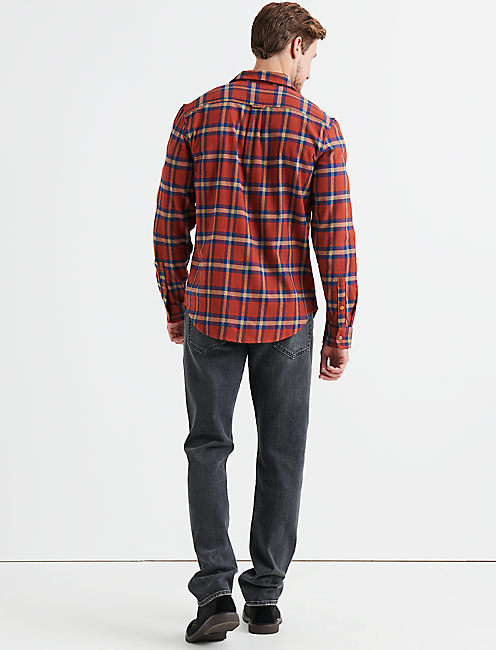 Long Sleeve Clean Two Pocket Work Wear Shirt, ORANGE PLAID