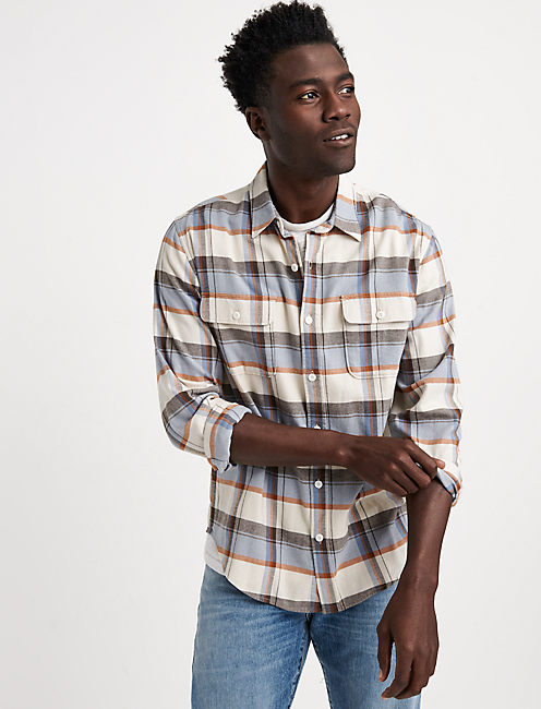 SATURDAY STRETCH SLIM LIGHTWEIGHT FLANNEL, BLUE PLAID