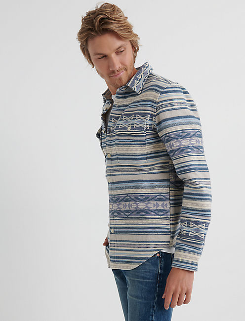 ALTA VISTA FLANNEL SHIRT JACKET, BLUE STRIPE