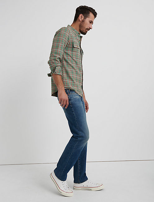 SATURDAY STRETCH LIGHTWEIGHT FLANNEL, GREEN PLAID