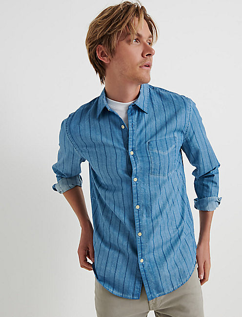 INDIGO STRIPE ONE POCKET SHIRT, AVY