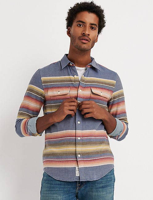 DOUBLE WEAVE SUNSET STRIPE SHIRT,