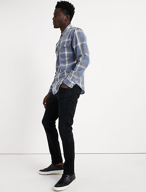 BLUE PLAID CAMP TWILL SHIRT, BLUE PLAID